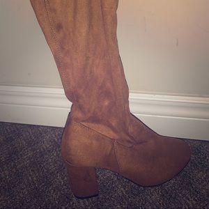 Knee High Brown Heeled Boots